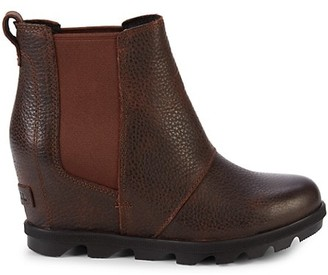 Sorel Joan of Arctic Pebbled-Leather Wedge Booties