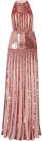 Temperley London Filigree Sequin-embellished Chiffon Halterneck Gown