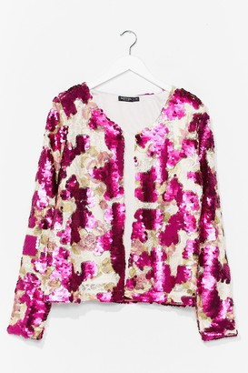 Nasty Gal Womens In It to Sequin It Relaxed Jacket - Pink - S, Pink
