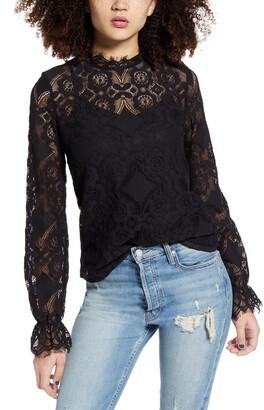 Vero Moda Ginny Lace High Neck Cotton Blend Blouse