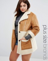 Alice & You Oversized Faux Shearling Panel Coat With Zip Detail
