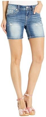 Miss Me Mid-Rise Mid Shorts in Dark Blue (Dark Blue) Women's Shorts