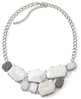 JCPenney White Abstract Stone Statement Necklace