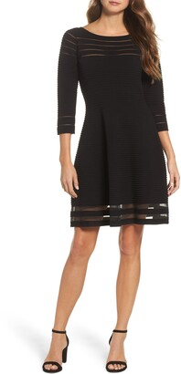 Eliza J Mesh Fit & Flare Dress