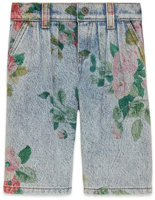 Gucci Baby denim pant with floral print