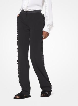 Michael Kors Collection Wool-Serge Ruffled Tuxedo Pants