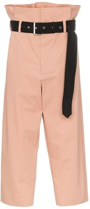 Plan C Paperbag Waist Cropped Trousers