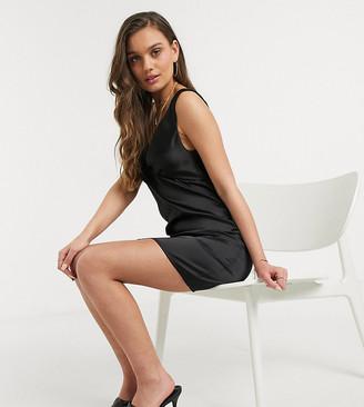 Asos DESIGN Petite satin bias mini cami slip dress in black