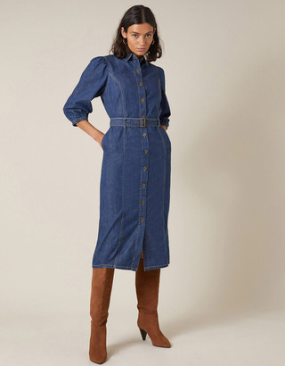 Monsoon Belted Denim Midi Dress in Organic Cotton Blue