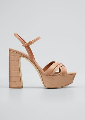 Malone Souliers Mila 125mm Croc Printed Platform Sandals