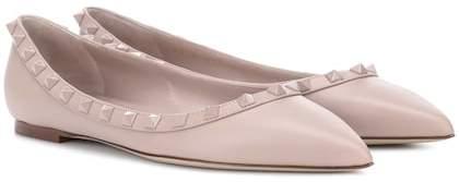 Valentino Rockstud leather ballerinas