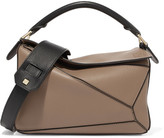 Loewe Puzzle Small Color-block Textured-leather Shoulder Bag - Beige