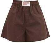 Matthew Adams Dolan - High-rise Cotton-poplin Shorts - Womens - Brown