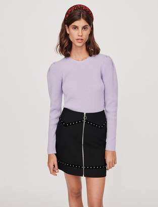 Maje Studded mini skirt with velvet trim