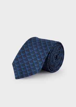 Emporio Armani Silk Tie With Jacquard Monogram