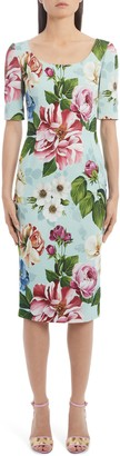 Dolce & Gabbana Floral Print Cady Sheath Dress