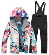 HOTIAN Women's High Windproof Technology Colorfull Printed Ski Jacket Wear