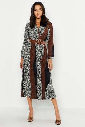 boohoo Tall Animal Print Wrap Midi Dress