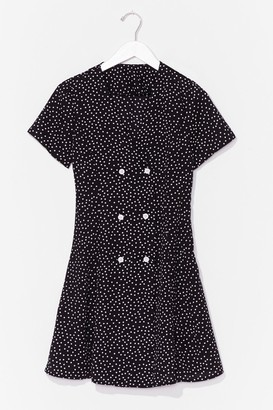 Nasty Gal Womens polka dot button front dress - Black - S, Black