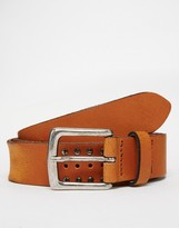 Asos Leather Belt In Tan With Vintage Style Studding