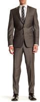 Simon Spurr Beige Sharkskin Two Button Notch Lapel Wool Regular Fit Suit