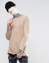 Asos Halloween Longline Long Sleeve T-Shirt With Distress Hem And Cuff