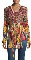 Etro Ribbon-Print Tie-Waist Blouse, Red