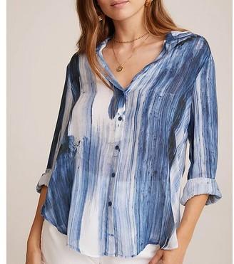 Bella Dahl Flowy Button Down Blue Blurred Stripe - S