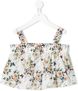 MonnaLisa Ruched Cropped Floral Print Blouse