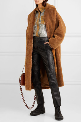 Stand Studio - Maria Cocoon Oversized Faux Shearling Coat - Brown