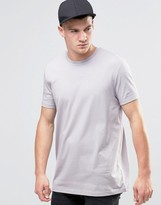 Asos Longline T-Shirt With Crew Neck In Pale Purple