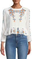 Haute Rogue Kimberly Embroidered Peplum Blouse