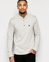 Asos Long Sleeve Jersey Polo With Woven Collar In Taupe