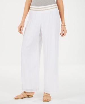 JM Collection Petite Metallic-Waist Wide-Leg Pants, Created for Macy's