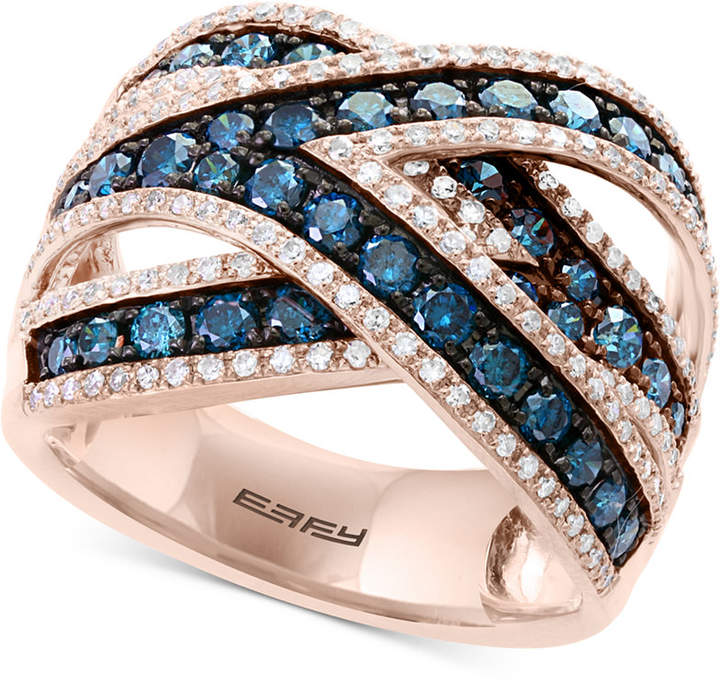 Effy Bella Bleu by Diamond Crisscross Statement Ring (1-3/4 ct. t.w.) in 14k Rose Gold