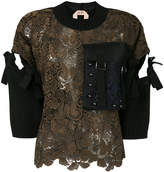 No.21 studded pocket embroidered top