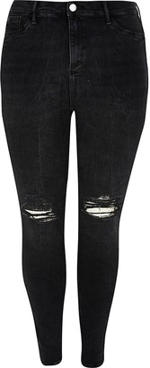 River Island Plus black Molly mid rise jegging