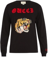 Gucci Tiger-appliqué long-sleeved cotton T-shirt
