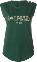 Balmain logo printed tank top - women - Cotton - 34