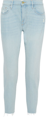 Frame Le Garcon Cropped Distressed Mid-rise Slim-leg Jeans