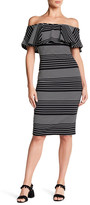 Romeo & Juliet Couture Striped Off-the-Shoulder Bodycon Dress