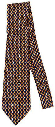 One Kings Lane Vintage Hermes Navy Fruit Print Tie - Vintage Lux