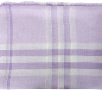 Burberry Lilac Plaid Print Scarf