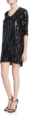 Velvet Elisa Sequined Short Shift Dress