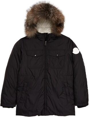 Moncler Menue Down Raincoat with Genuine Fox Fur Trim