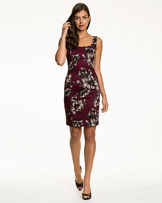 Le Château Tropical Print Cotton Sateen Fitted Dress