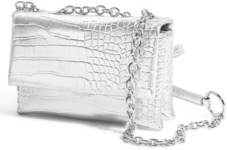House of Want H.O.W. We Slay Small Shoulder Bag In Silver Croco