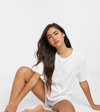 Lindex Exclusive Mary organic cotton fleece lounge t-shirt in off white