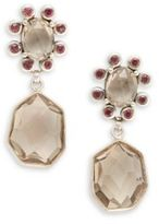 Stephen Dweck Verona Smoky Quartz, Rhodolite Garnet & Sterling Silver Drop Earrings