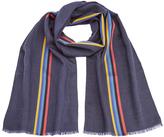 Paul Smith Men's Central Stripe Wool Scarf Black